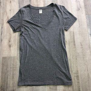 PINK Gray V-neck T-shirt